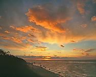 New York, Cutchogue, The Sound, Birch Beach, Long Island, North Fork, sunset