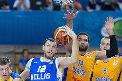 04.09.2013, Arena Bonifka, Koper, SLO, Eurobasket EM 2013, Schweden vs Griechenland, im Bild Loukas Mavrokefalidis #12 of Greece and Jeffery Taylor #14 of Sweden // during Eurobasket EM 2013 match between Sweden and Greece at Arena Bonifka in Koper, Slowenia on 2013/09/04. EXPA Pictures © 2013, PhotoCredit: EXPA/ Sportida/ Matic Klansek Velej<br /> <br /> ***** ATTENTION - OUT OF SLO *****