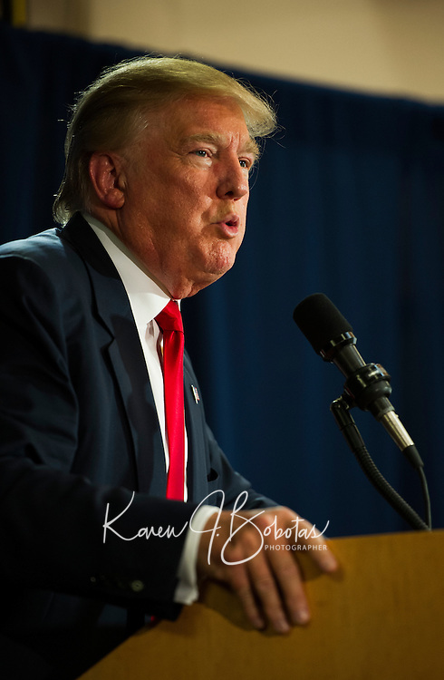 Republican Presidential candidate Donald Trump speaking at the Weirs Beach Community Center.  Karen Bobotas for the Laconia Daily Sun