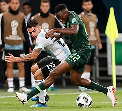 June 26, 2018 - Saint Petersburg, Russia - Kenneth Omeruo (R) of Nigeria national team and Cristian Pavon of Argentina national team vie for the ball during the 2018 FIFA World Cup Russia group D match between Nigeria and Argentina on June 26, 2018 at Saint Petersburg Stadium in Saint Petersburg, Russia. (Credit Image: © Mike Kireev/NurPhoto via ZUMA Press)