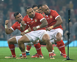 Tonga perform the Haka before the game<br /> <br /> Photographer Simon King/Replay Images<br /> <br /> Under Armour Series - Wales v Tonga - Saturday 17th November 2018 - Principality Stadium - Cardiff<br /> <br /> World Copyright © Replay Images . All rights reserved. info@replayimages.co.uk - http://replayimages.co.uk