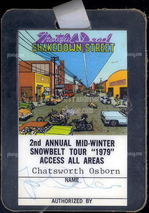 """Grateful Dead 1979 Concert Tour Laminate """"Snowbell Tour"""" January 1979. Credentialed with the name of fictional TV character Chatsworth Osborn from the show The Many Loves of Dobie Gillis. Badge signed by John Scher."""