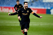 Lionel Andres Messi of FC Barcelona celebrates after scoring goal during the La Liga match between Real Sociedad CF and FC Barcelona at Reale Arena on March 21, 2021 in San Sebastian, Spain.