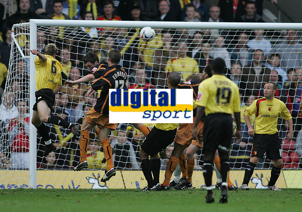 Photo: Lee Earle.<br /> Watford v Wolverhampton Wanderers. Coca Cola Championship. 29/10/2005. Watford's Jay De Merit (L) heads home their first goal.