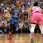 Monica Wright, Minnesota Lynx, in action during the Connecticut Sun Vs Minnesota Lynx, WNBA regular season game at Mohegan Sun Arena, Uncasville, Connecticut, USA. 27th July 2014. Photo Tim Clayton