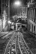 Portugal . lisbon cable car .elevador da gloria at night