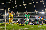 Northern Ireland midfielder Paddy McNair sees his shot go wide during the UEFA European 2020 Qualifier match between Northern Ireland and Estonia at National Football Stadium, Windsor Park, Northern Ireland on 21 March 2019.