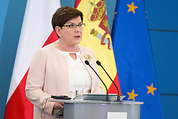 June 30, 2017 - Warsaw, Poland - Prime Minister of Poland Beata Szydlo during the press conference at Chancellery of the Prime Minister in Warsaw, Poland on 30 June 2017  (Credit Image: © Mateusz Wlodarczyk/NurPhoto via ZUMA Press)
