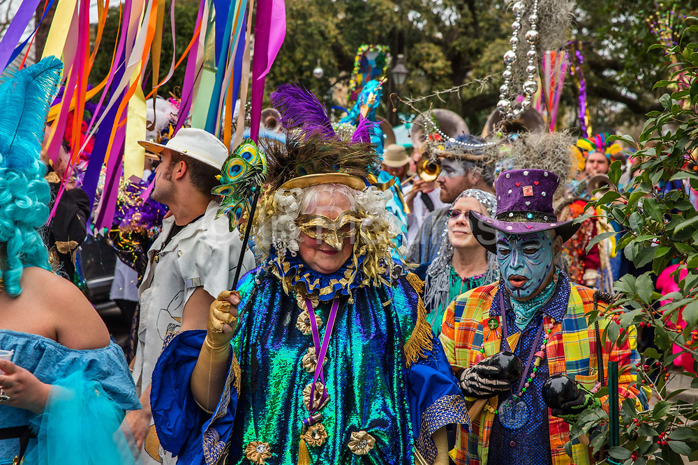 The Society of Saint Anne parade during Mardi Gras on 25th February 2020 in Bywater district of New Orleans, Louisiana, United States. Mardi Gras is the biggest celebration the city of New Orleans hosts every year. The magnificent, costumed, beaded and feathered party is laced with tradition and  having a good time. Celebrations are concentrated for about two weeks before and culminate on Fat Tuesday the day before Ash Wednesday and Lent.