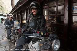 Kiwi Mike Tomas on the main street of Tatopani before starting out on Day-7 of our Himalayan Heroes adventure riding from Tatopani to Pokhara, Nepal. Monday, November 12, 2018. Photography ©2018 Michael Lichter.