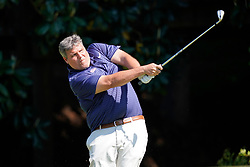 Ole Miss head football coach Matt Luketees off during the Chick-fil-A Peach Bowl Challenge at the Ritz Carlton Reynolds, Lake Oconee, on Tuesday, April 30, 2019, in Greensboro, GA. (Paul Abell via Abell Images for Chick-fil-A Peach Bowl Challenge)