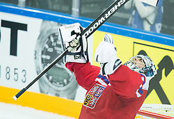 Ondrej Pavelec of Czech Republic celebrates after winning during Ice Hockey match between Finland and Czech Republic at Quarterfinals of 2015 IIHF World Championship, on May 14, 2015 in O2 Arena, Prague, Czech Republic. Photo by Vid Ponikvar / Sportida