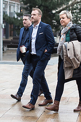 © Licensed to London News Pictures. 19/02/2018. Liverpool, UK. MICKEY FALLON arrives along with supporters . Barry Bennell is sentenced at Liverpool Crown Court following his conviction for 50 sexual assaults on boys during his time as a youth development coach at Manchester City and Crewe Alexander a football clubs . Photo credit: Joel Goodman/LNP