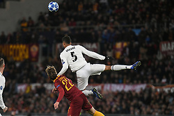 November 27, 2018 - Rome, Italy - Raphael Varane of Real Madrid competes for the ball with Nicolo Zaniolo of As Roma during the Champions league football match between AS Roma  and Real Madrid at Olimpico stadium in Rome, Italy, on November 27, 2018. (Credit Image: © Federica Roselli/NurPhoto via ZUMA Press)