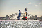 SAilGP France Team and SailGP GBR Team, race two on day one of competition. Event 1 Season 1 SailGP event in Sydney Harbour, Sydney, Australia. 15 February 2019. Photo: Chris Cameron for SailGP. Handout image supplied by SailGP