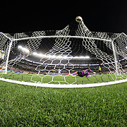 Kelechi Iheanacho, Manchester City, beats Liverpool keeper Simon Mignolet during the penalty shoot out during the Manchester City Vs Liverpool FC Guinness International Champions Cup match at Yankee Stadium, The Bronx, New York, USA. 30th July 2014. Photo Tim Clayton