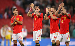 (left to right) Spain's Marco Asensio, Saull Niguez, Nacho and Dani Carvajal applaud the fans after the final whistle