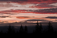 Mount Constance peeks through evening alpenglow lit clouds on the Olympic Peninsula, seen from the Kitsap Peninsula in Puget Sound, Washington state, USA