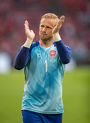 AMSTERDAM, THE NETHERLANDS - Saturday, June 26, 2021: Denmark's goalkeeper Kasper Schmeichel celebrates after the UEFA Euro 2020 Round of 16 match between Wales and Denmark at the Amsterdam Arena. Denmark won 4-0. (Photo by David Rawcliffe/Propaganda)