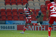 1-0, GOAL scored by  Doncaster forward Fejiri Okenabirhie  during the EFL Sky Bet League 1 match between Doncaster Rovers and AFC Wimbledon at the Keepmoat Stadium, Doncaster, England on 26 January 2021.