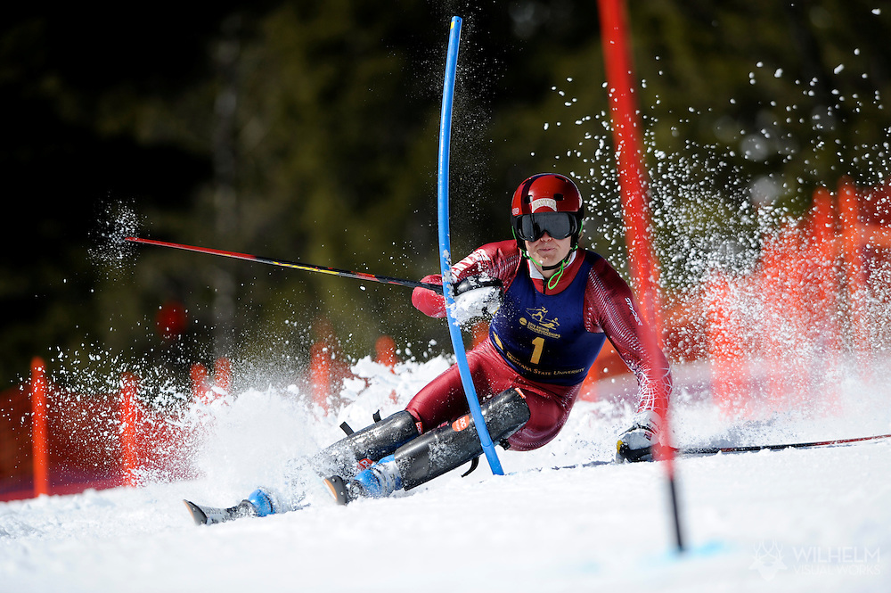 10 MAR 2012: Espen Lysdahl of the University of Denver during Men's Alpine Slalom event at the NCAA Division I Men and Women's Ski Championship held at Bridger Bowl hosted by Montana State University in Bozeman, MT. Lysdahl placed 1st to win the national title. © Brett Wilhelm