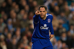 MANCHESTER, ENGLAND - Monday, February 25, 2008: Everton's Jolean Lescott celebrates scoring the second goal against Manchester City during the Premiership match at the City of Manchester Stadium. (Photo by David Rawcliffe/Propaganda)