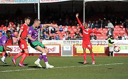 Bristol City's Aaron Wilbraham takes a shot at goal. - Photo mandatory by-line: Dougie Allward/JMP - Mobile: 07966 386802 - 07/03/2015 - SPORT - Football - Crawley - Broadfield Stadium - Crawley Town v Bristol City - Sky Bet League One
