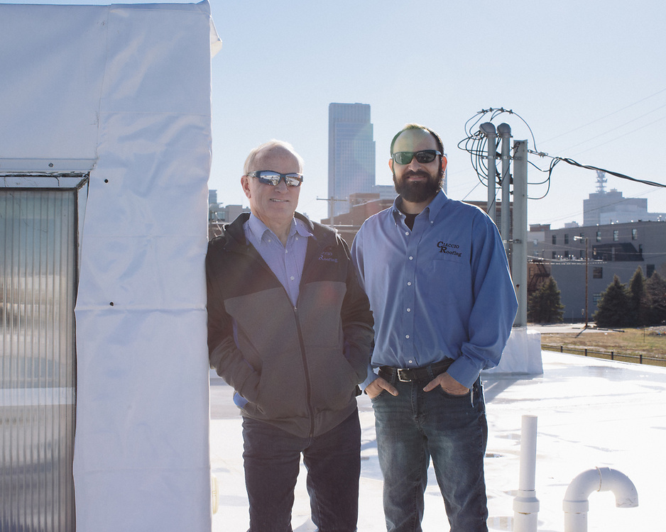 21 Novemeber 2018– Pete Ciaccio and other employee are photographed on the roof of Ciaccio Roofing as the face of commerical roofing for FACES 2019.
