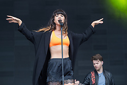 © Licensed to London News Pictures . 07/06/2014 . Heaton Park , Manchester , UK . Foxes on the main stage .  Parklife music festival in Heaton Park Manchester following heavy overnight rain . Photo credit : Joel Goodman/LNP