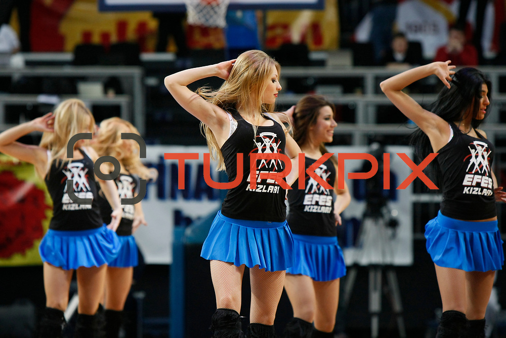 Anadolu Efes's show girls during their Turkish Airlines Euroleague Basketball Top 16 Game 1 match Anadolu Efes between Galatasaray at Sinan Erdem Arena in Istanbul, Turkey, Thursday, January 19, 2012. Photo by TURKPIX