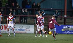 Stenhousemuir's Thomas Halleran (15) scoring their goal. Stenhousemuir 1 v 0 Airdrie, Scottish Football League Division One played 26/1/2019 at Ochilview Park.