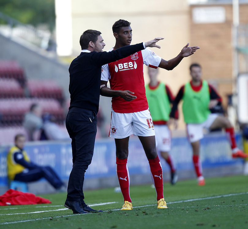 Fleetwood Town's Manager Graham Alexander talks to Fleetwood Town's Victor Nirennold<br /><br />Photographer Mick Walker/CameraSport<br /><br />Football - The Football League Sky Bet League One - Wigan Athletic v Fleetwood Town - Saturday 19th September 2015 - DW Stadium - Wigan<br /><br />© CameraSport - 43 Linden Ave. Countesthorpe. Leicester. England. LE8 5PG - Tel: +44 (0) 116 277 4147 - admin@camerasport.com - www.camerasport.com