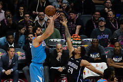 March 10, 2018 - Los Angeles, CA, U.S. - LOS ANGELES, CA - MARCH 10: LA Clippers guard Milos Teodosic (4) shoots a basket over the top of Orlando Magic center Khem Birch (24) during the game between the Orlando Magic and the LA Clippers on March 10, 2018, at STAPLES Center in Los Angeles, CA. (Photo by David Dennis/Icon Sportswire) (Credit Image: © David Dennis/Icon SMI via ZUMA Press)