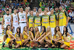 Cheerleaders with Lithuanian team during friendly match between National Teams of Slovenia and Lithuania before World Championship Spain 2014 on August 18, 2014 in Kaunas, Lithuania. Photo by Robertas Dackus / Sportida.com