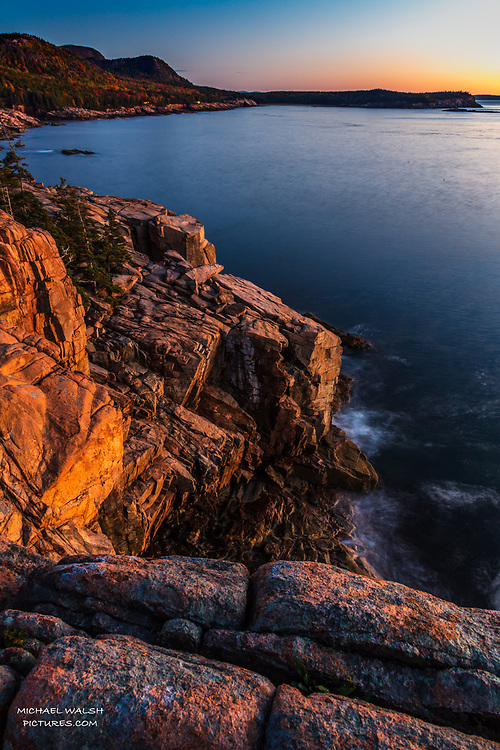 """TO PURCHASE: Simply click """"Add to Cart"""" to see prints and products available.<br /> <br /> Acadia National Park is an American jewel located on the stunning coast of Maine.<br /> <br /> The first national park located east of the Mississippi River it boasts views unlike anything on the eastern seaboard.<br /> <br /> This image was captured at sunrise at Otter Point a popular location in heart of Acadia.  The cliffs are notorious for their colorful hues at sunrise.<br /> <br /> Camera Data:<br /> f/13, 10sec, 24mm, ISO100<br /> RAW, Manual Mode, Evaluative Metering<br /> Tripod, Bare Glass, Lr<br /> Canon 5ds, Canon EF 24-105mm<br /> <br /> High Resolution Image"""