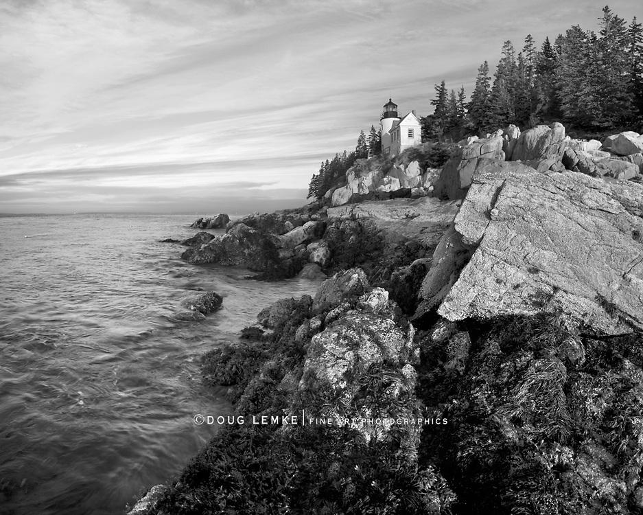 The Bass Harbor Head Light, a classic New England lighthouse at sunset, Acadia National Park, Maine, USA