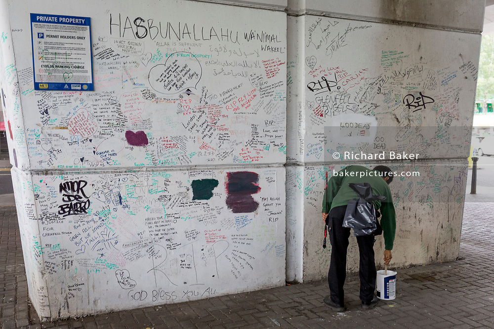 Messages of protest and dedications on the first anniversary of the Grenfell tower fire, on 14th June 2018, in London, England. 72 people died when the tower block in the borough of Kensington & Chelsea were killed in what has been called the largest fire since WW2. The 24-storey Grenfell Tower block of public housing flats in North Kensington, West London, United Kingdom. It caused 72 deaths, out of the 293 people in the building, including 2 who escaped and died in hospital. Over 70 were injured and left traumatised. A 72-second national silence was held at midday, also observed across the country, including at government buildings, Parliament.