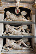 Fettiplace tombs 1613 in the chancel of St Mary's Church in Swinbrook - top Sir Edmund Fettiplace mid John baronet base John Esquire