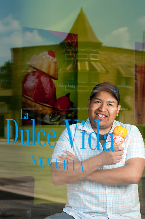 La Dulce Vida Neveria Co-Owners Gregorio Hernandez opened his Melrose Park Mexican ice cream parlor three years ago with homemade treats. Thursday, June 20th. © 2013 Brian J. Morowczynski ViaPhotosa