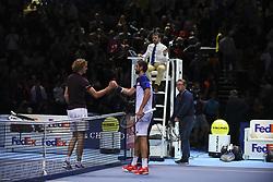 November 12, 2017 - London, England, United Kingdom - Alexander Zverev of Germany and Marin Cilic of Croatia after the Nitto ATP World Tour Finals at O2 Arena, London on November 12, 2017. (Credit Image: © Alberto Pezzali/NurPhoto via ZUMA Press)