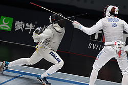 WUXI, July 27, 2018  Alessio Foconi (L) of Italy fights with Race Imboden during the men's foil team final between Italy and the United States at the Fencing World Championships in Wuxi, east China's Jiangsu Province, July 27, 2018. Italy beat US 45-34 and claimed the title of the event. (Credit Image: © Han Yuqing/Xinhua via ZUMA Wire)