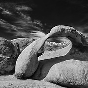 Mobius Arch And Mt. Whitney - Alabama Hills, CA - Black & White