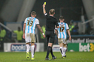 Joel Lynch (Huddersfield Town) is booked during the Sky Bet Championship match between Huddersfield Town and Rotherham United at the John Smiths Stadium, Huddersfield, England on 15 December 2015. Photo by Mark P Doherty.