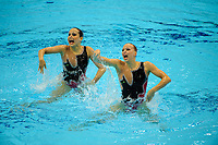 London, England, 22-04-12. Nadine BRANDL and Livia LANG (AUT) in the FINA Synchronised Swimming Qualifications.