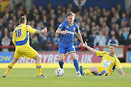 Dannie Bulman of AFC Wimbledon (c) in action with Scott Brown of Accrington Stanley marking. Skybet football league two play off semi final, 1st leg match, AFC Wimbledon v Accrington Stanley at the Cherry Red Records Stadium in Kingston upon Thames, Surrey on Saturday 14th May 2016.<br /> pic by John Patrick Fletcher, Andrew Orchard sports photography.