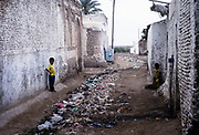 Filthy rubbish strewn street in Zebid, Zabid, Yemen 1998 UNESCO World Heritage Site
