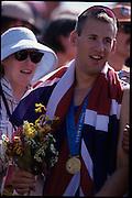 Sydney, AUSTRALIA, GBR M8+,  Kieran WEST. 2000 Olympic Regatta, West Lakes Penrith. NSW.  [Mandatory Credit. Peter Spurrier/Intersport Images] Sydney International Regatta Centre (SIRC) 2000 Olympic Rowing Regatta00085138.tif