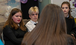 Pictured: Youth Advisors Verity Siagen (14), Patrick Heyes (16) both Trinity academy and Martha Barr (16) Leith Academy. <br />Mental Health Minister Clare Haughey visisted the Junction in Edinburgh today to announce extra funding for young people mental health staff.  The Junction centre provides care and support to young people from north Edinburgh. Ms Haughey announced funding for Child and Adolescent Mental Health Services (CAMHS) <br /><br />Ger Harley  EEm 19 December 2018