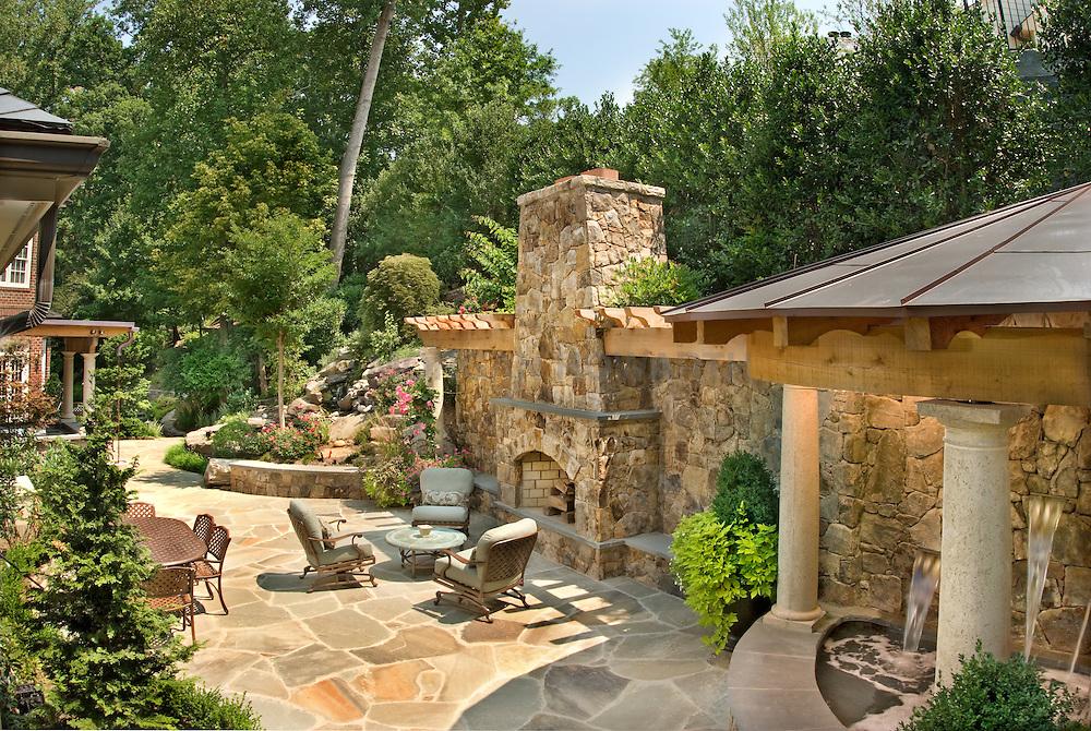 Lewis Aquatech pools at 1087 Langley Fork Ln<br /> McLean, VA 22101 House rear exterior Deck patio Verandah Porch stone wall