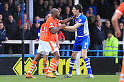Tom Aldred, Peter Vincenti during the Sky Bet League 1 match between Rochdale and Blackpool at Spotland, Rochdale, England on 16 April 2016. Photo by Daniel Youngs.